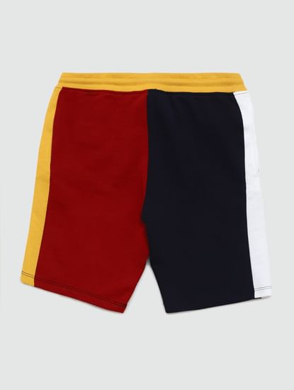 Junior Navy Blue Colourblocked Sweatshorts