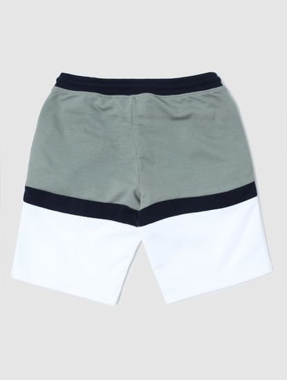 Junior Green Colourblocked Sweatshorts