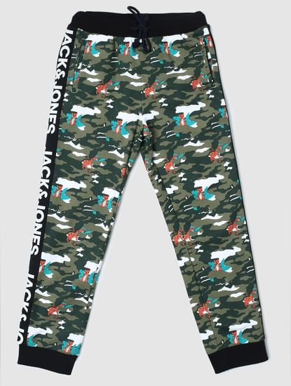 Junior Green Camo Print Sweatpants