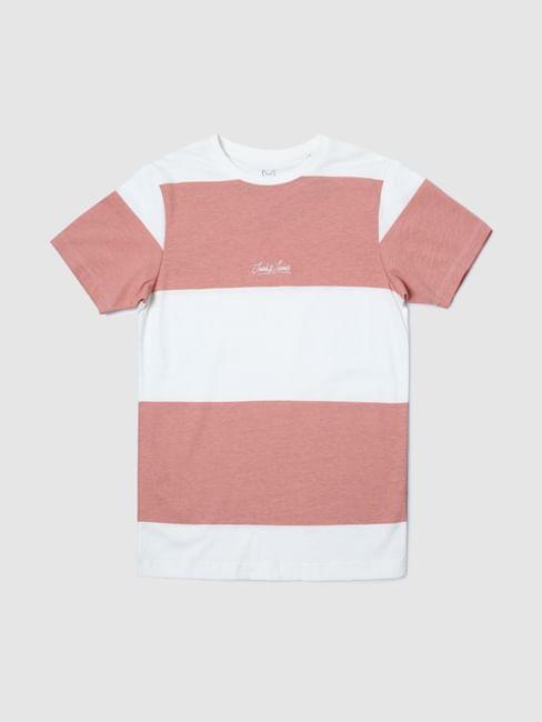 Boys Pink Colourblocked Crew Neck T-shirt