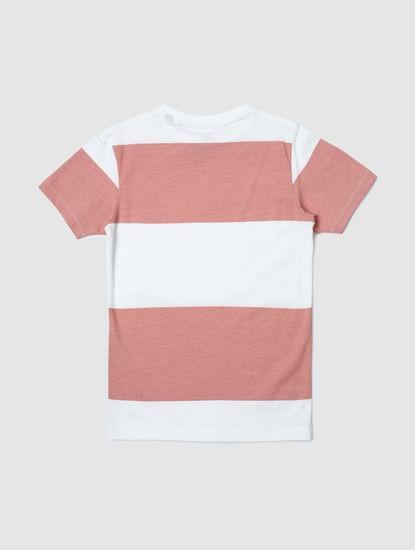 Junior Pink Colourblocked Crew Neck T-shirt
