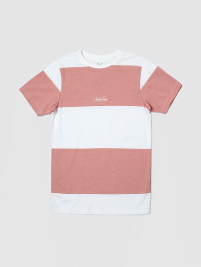 Junior Pink Colourblocked Crew Neck T-shirt