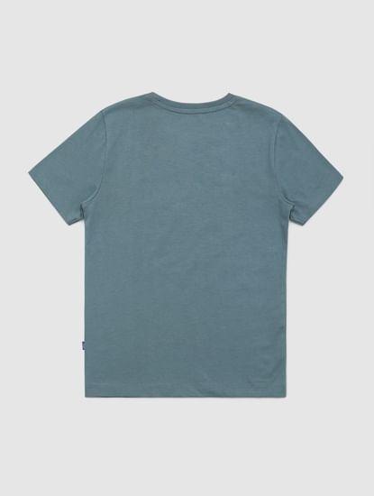 Junior Blue Graphic Print Crew Neck T-shirt