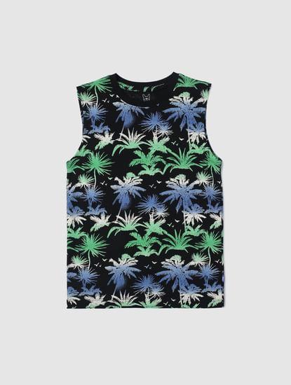 Junior Black Tropical Print Vest