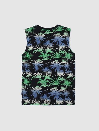 Boys Black Tropical Print Vest