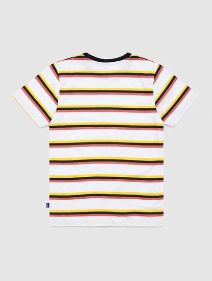 Junior Yellow Striped Crew Neck T-shirt