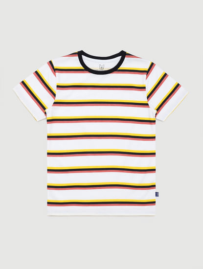 Junior Yellow Striped Crew Neck T-shirt