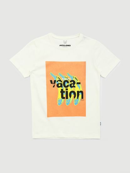 Junior White Graphic Print Crew Neck T-shirt