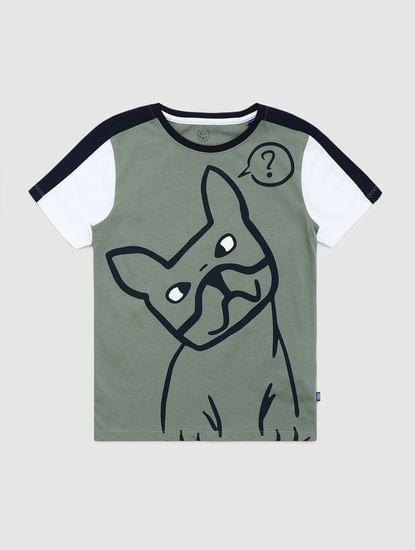 Junior Green Graphic Print Crew Neck T-shirt