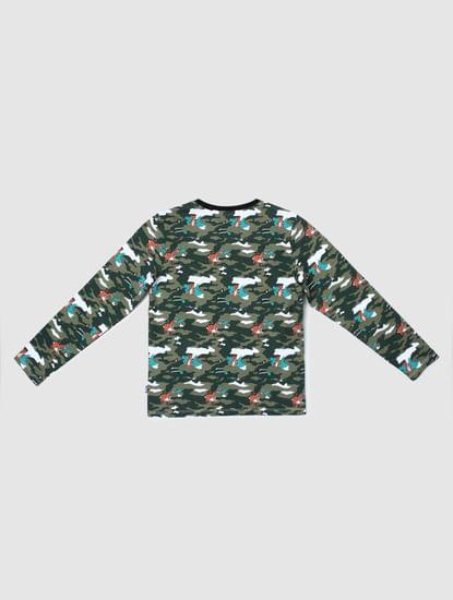Boys Green Camo Print Crew Neck T-shirt