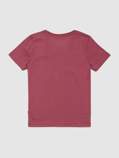 Junior Dark Pink Graphic Print Crew Neck T-shirt