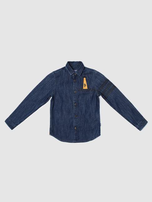Junior Blue Printed Denim Shirt