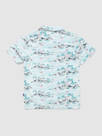 Boys White Tropical Print Short Sleeves Shirt