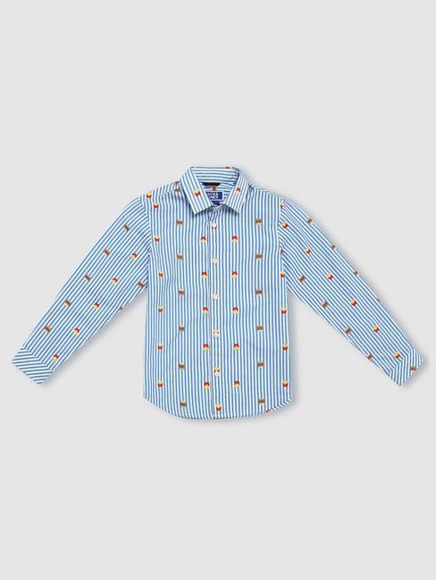 Boys Blue Striped Full Sleeves Shirt