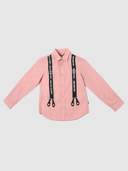 Boys Pink Suspender Print Full Sleeves Shirt