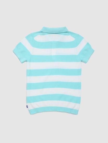 Junior Jack & Jones Junio Blue Striped Polo Neck T-shirt