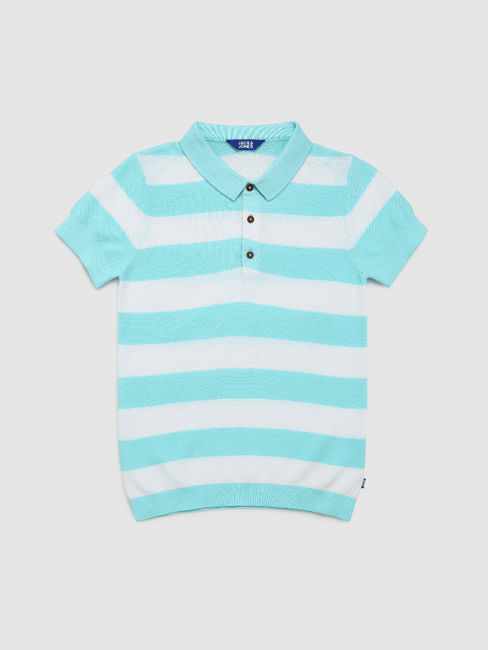 Boys Junio Blue Striped Polo Neck T-shirt
