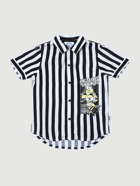 Junior X Minions White Striped Short Sleeves Shirt