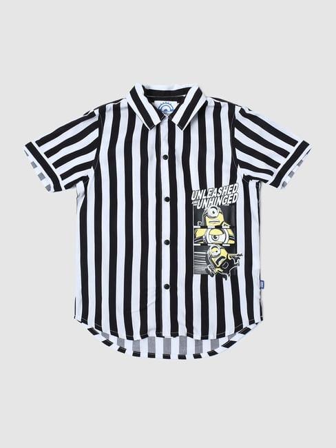 Junior X Minions White Striped Short Sleeves Shirt