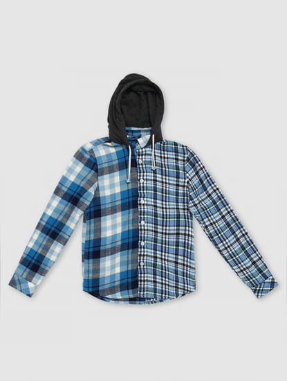 Boys Blue Check Print Hooded Shirt