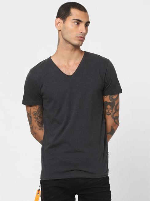 Dark Grey V Neck T-shirt