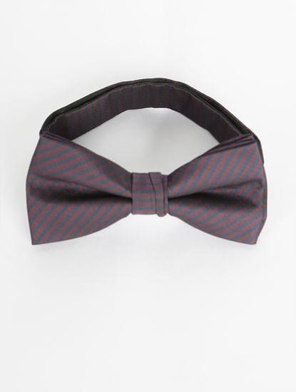 Navy Blue Striped Bow Tie