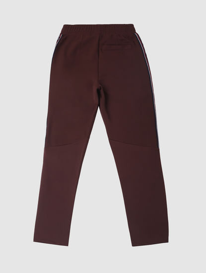 Boys Burgundy Tape Detail Sweatpants