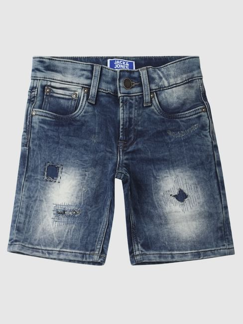 Blue Mid Rise Distressed Denim Shorts