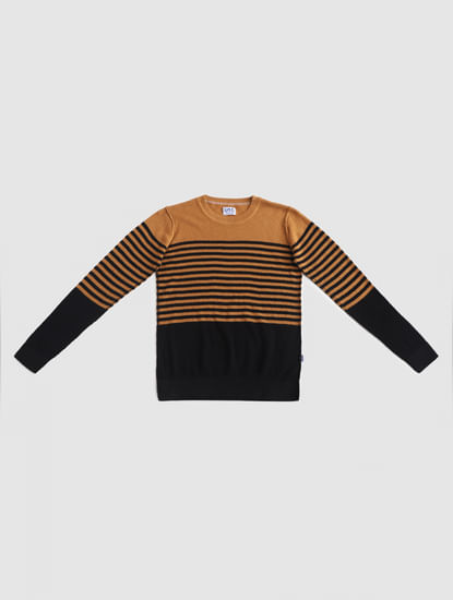 Junior Brown Striped Pullover