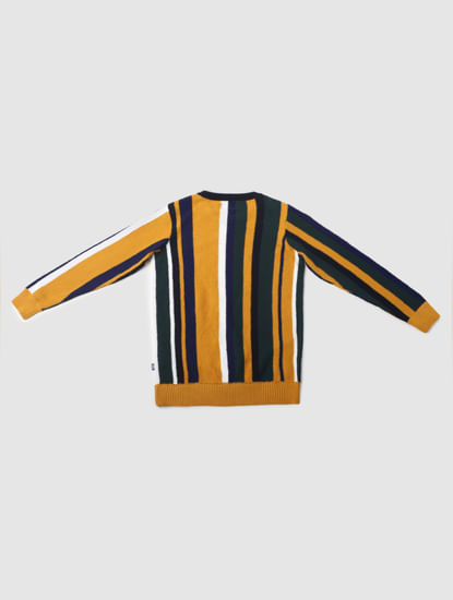 Junior Green Striped Pullover