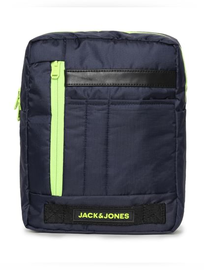 Navy Blue Contrast Zip Messenger Bag