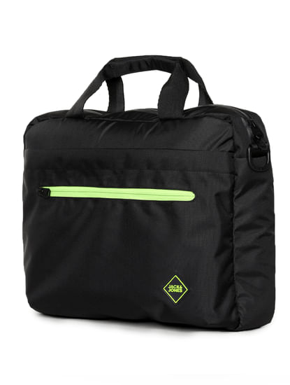 Black Logo Print Laptop Bag