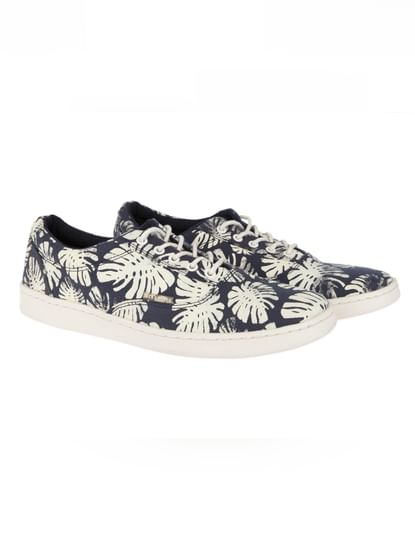 Blue Printed Canvas Trainers