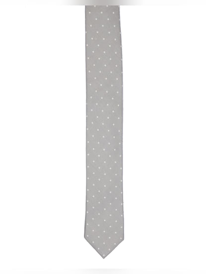 Grey Dot Print Tie
