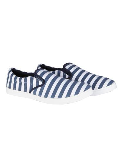 Blue Striped Slip Ons