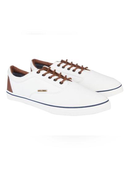 White Colourblocked Canvas Sneakers