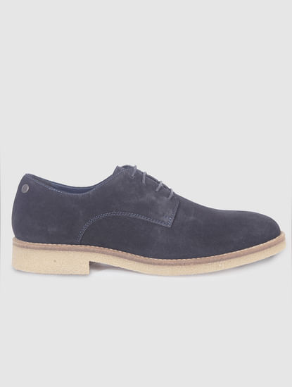 Navy Blue Suede Formal Shoes