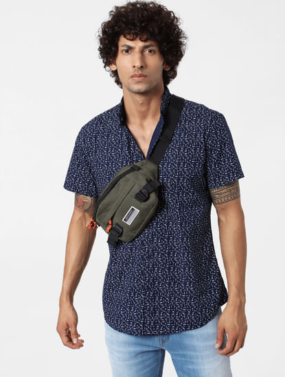 Navy Blue Geometric Print Short Sleeves Shirt