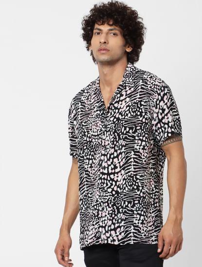 Black Animal Print Short Sleeves Shirt