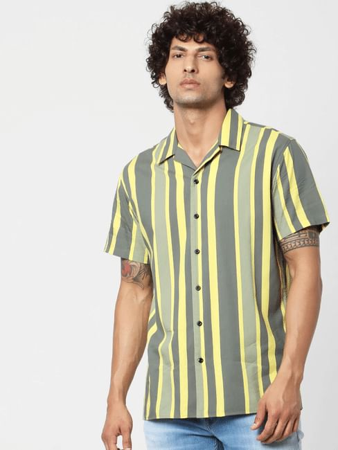 Green Striped Short Sleeves Shirt