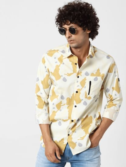 Yellow Abstract Print Full Sleeves Shirt
