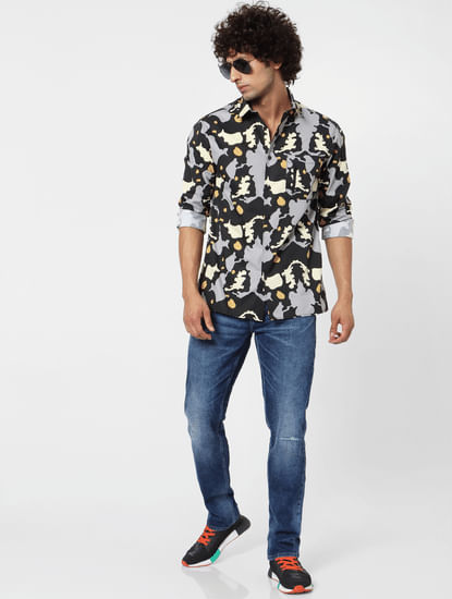 Black Abstract Print Full Sleeves Shirt