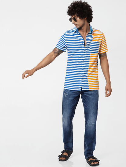 Blue & Orange Striped Short Sleeves Shirt