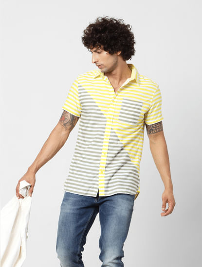 Yellow & Grey Striped Short Sleeves Shirt