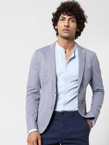 Light Blue Mandarin Collar Full Sleeves Shirt