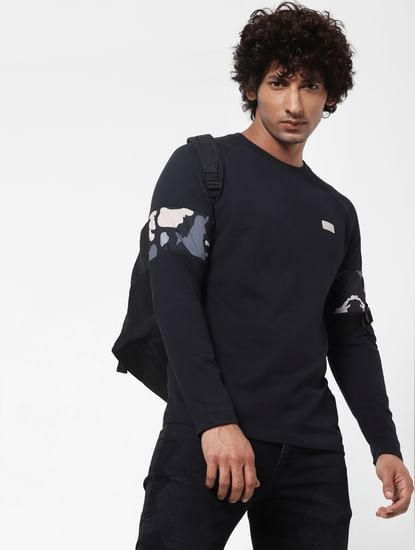 Black Sleeve Print Full Sleeves T-shirt