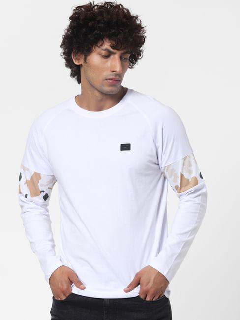 White Sleeve Print Full Sleeves T-shirt
