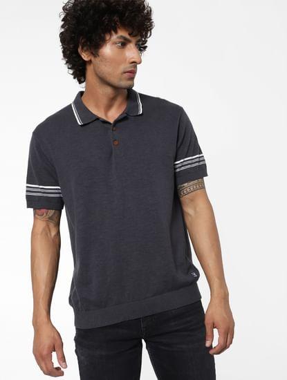 Grey Stripe Detail Polo Neck T-shirt