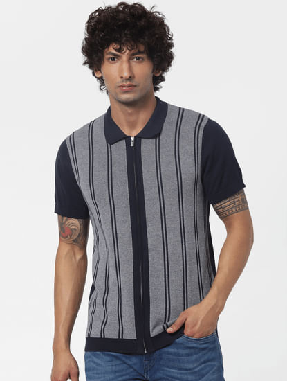 Blue Striped Zip Up Polo T-shirt