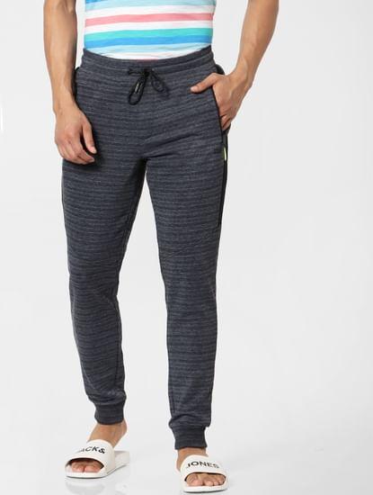 Dark Grey Mid Rise Striped Textured Sweatpants